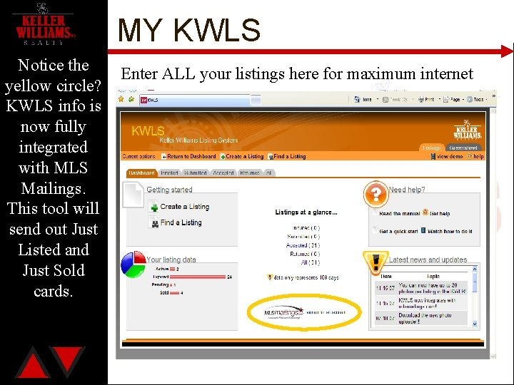 MY KWLS Notice the Enter ALL your listings here for maximum internet yellow circle?