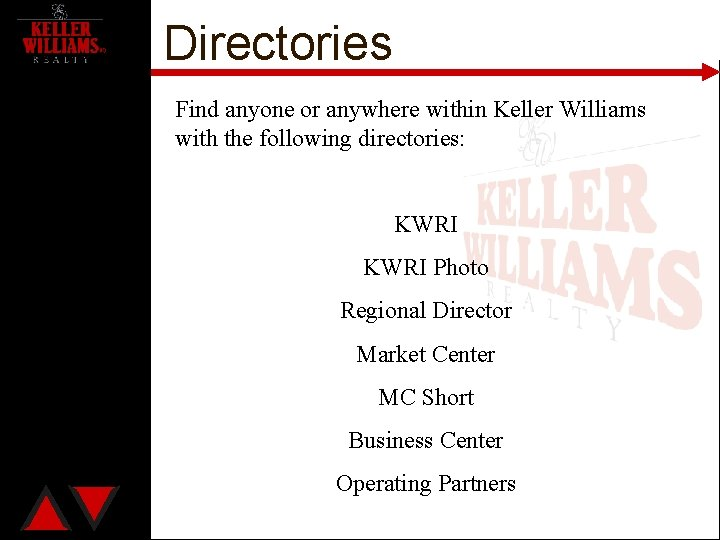 Directories Find anyone or anywhere within Keller Williams with the following directories: KWRI Photo