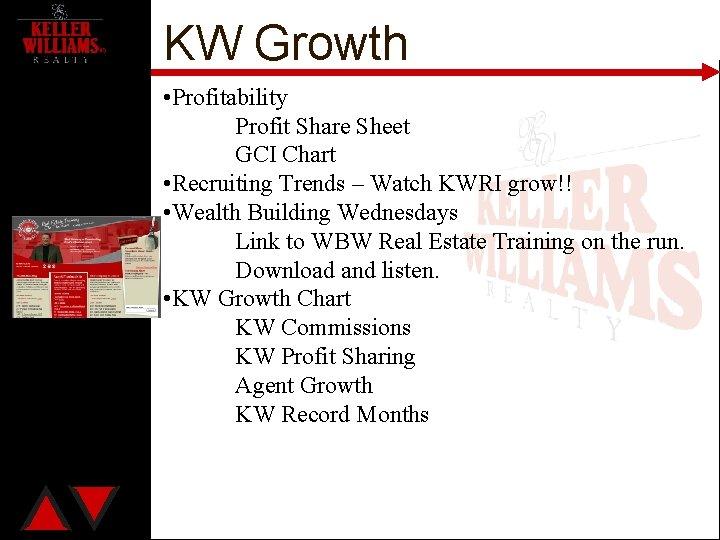 KW Growth • Profitability Profit Share Sheet GCI Chart • Recruiting Trends – Watch