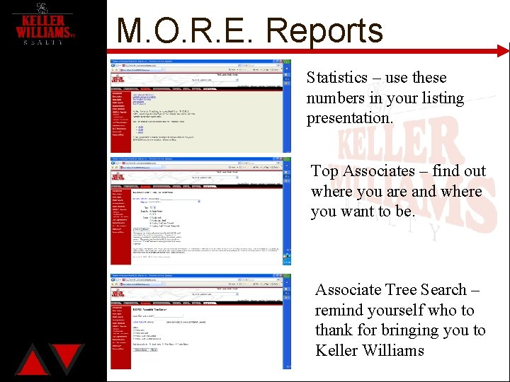 M. O. R. E. Reports Statistics – use these numbers in your listing presentation.