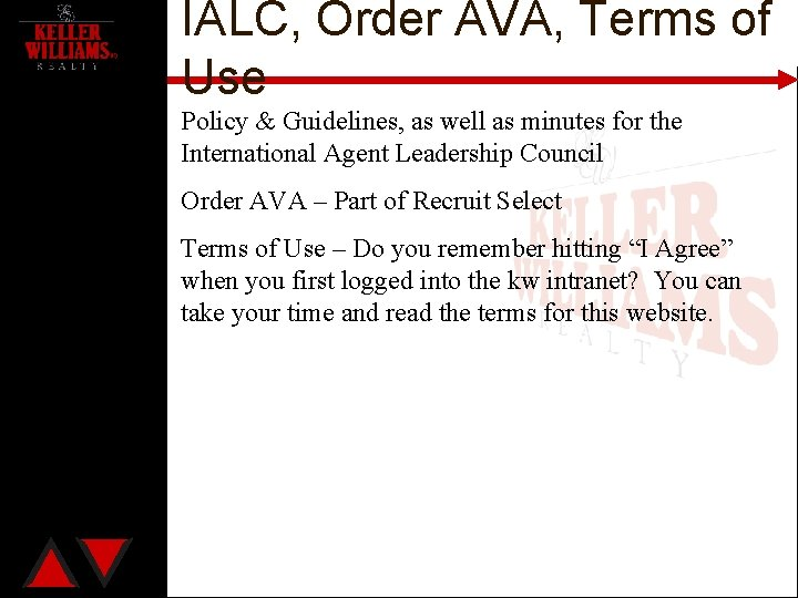 IALC, Order AVA, Terms of Use Policy & Guidelines, as well as minutes for
