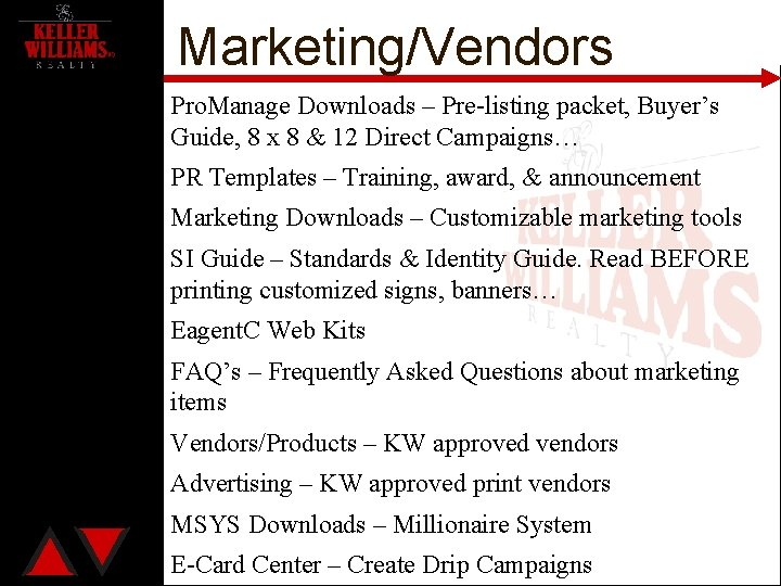 Marketing/Vendors Pro. Manage Downloads – Pre-listing packet, Buyer's Guide, 8 x 8 & 12