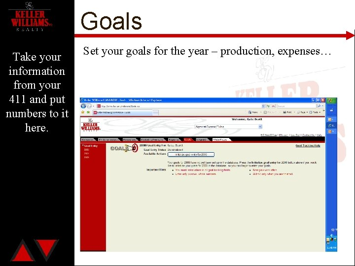 Goals Take your information from your 411 and put numbers to it here. Set