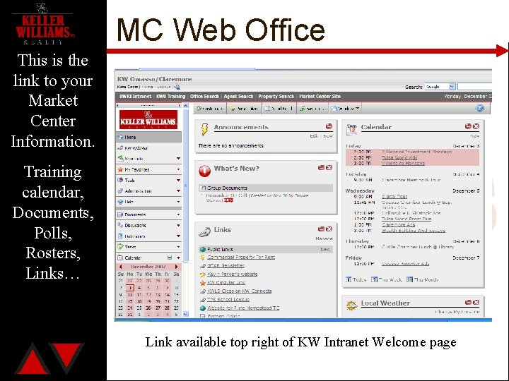MC Web Office This is the link to your Market Center Information. Training calendar,