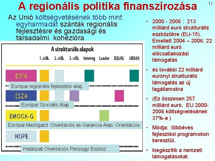 A regionális politika finanszírozása Az Unió költségvetésének több mint egyharmadát szánták regionális fejlesztésre és