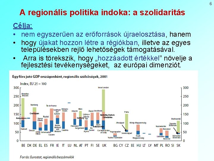 6 A regionális politika indoka: a szolidaritás Célja: • nem egyszerűen az erőforrások újraelosztása,