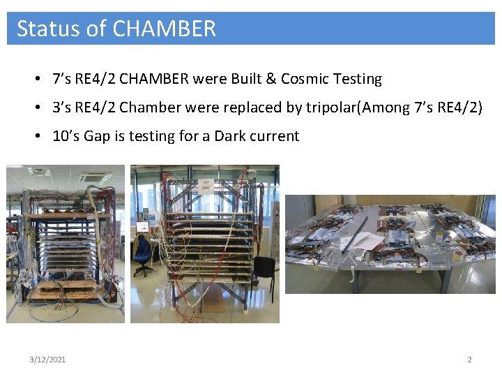 Status of CHAMBER • 7's RE 4/2 CHAMBER were Built & Cosmic Testing •