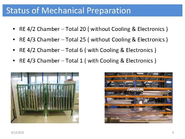 Status of Mechanical Preparation • RE 4/2 Chamber – Total 20 ( without Cooling