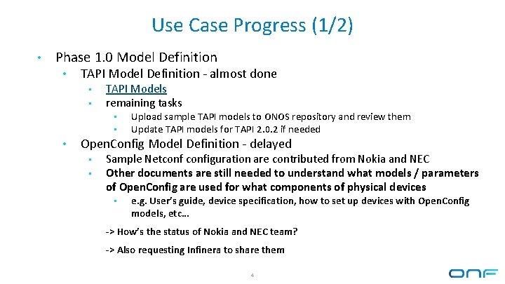 Use Case Progress (1/2) • Phase 1. 0 Model Definition • TAPI Model Definition
