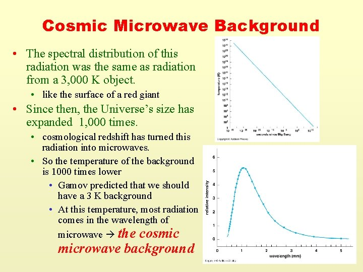 Cosmic Microwave Background • The spectral distribution of this radiation was the same as
