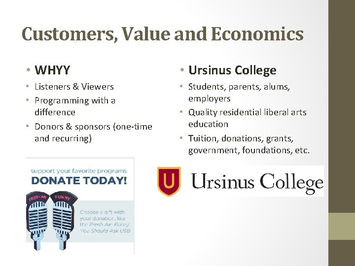 Customers, Value and Economics • WHYY • Ursinus College • Listeners & Viewers •