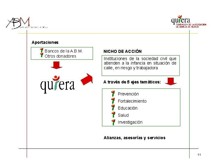 Aportaciones Bancos de la A. B. M. Otros donadores NICHO DE ACCIÓN Instituciones de