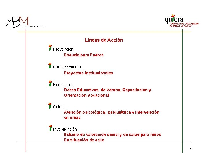 Líneas de Acción Prevención Escuela para Padres Fortalecimiento Proyectos institucionales Educación Becas Educativas, de