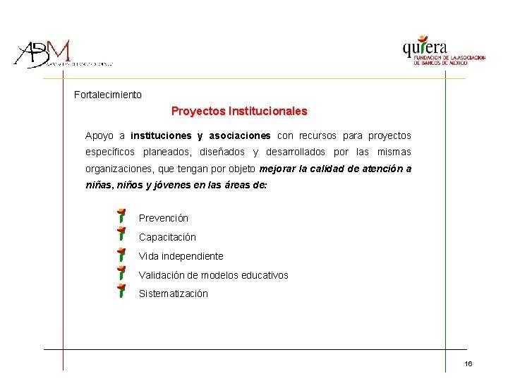 Fortalecimiento Proyectos Institucionales Apoyo a instituciones y asociaciones con recursos para proyectos específicos planeados,