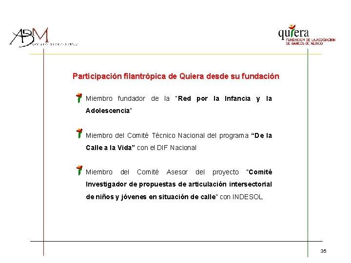 """Participación filantrópica de Quiera desde su fundación Miembro fundador de la """"Red por la"""