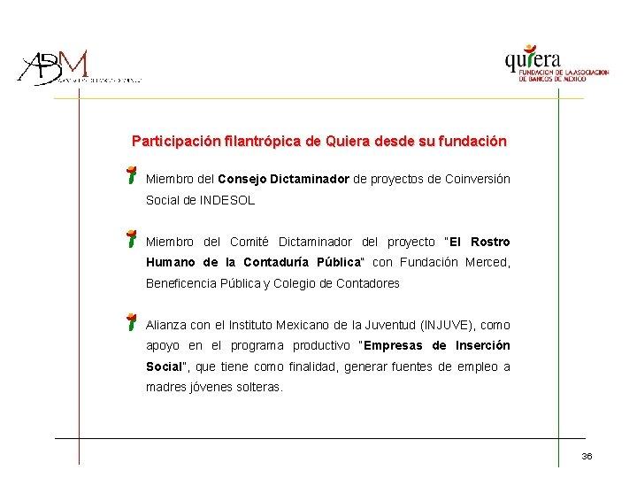 Participación filantrópica de Quiera desde su fundación Miembro del Consejo Dictaminador de proyectos de