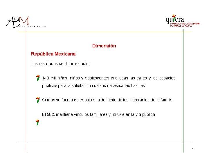 Dimensión República Mexicana Los resultados de dicho estudio: 140 mil niñas, niños y adolescentes
