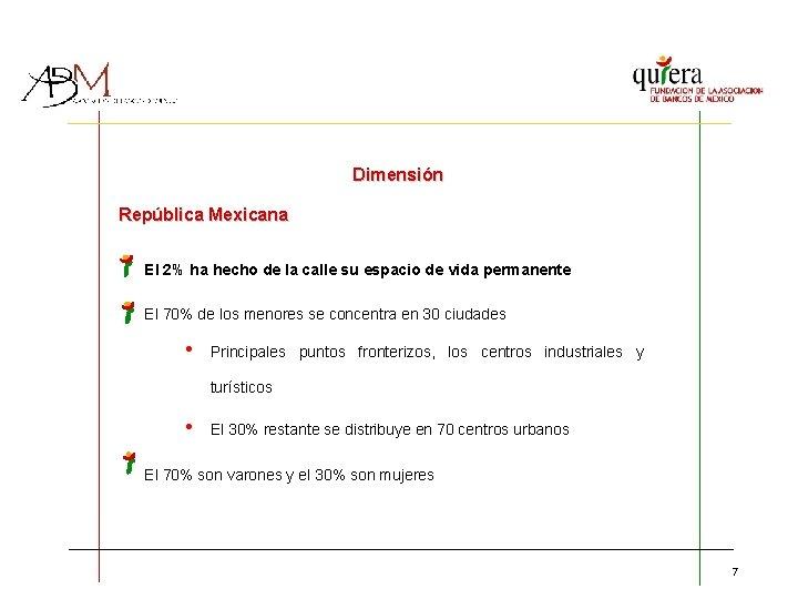 Dimensión República Mexicana El 2% ha hecho de la calle su espacio de vida