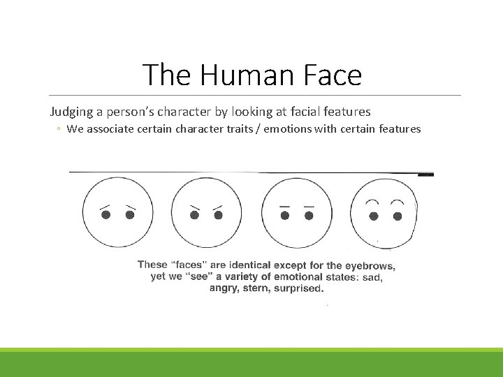 The Human Face Judging a person's character by looking at facial features ◦ We