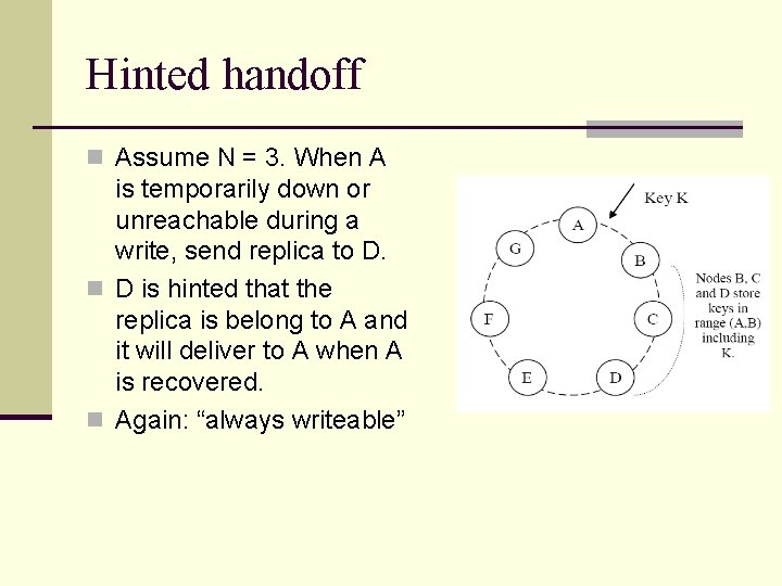 Hinted handoff n Assume N = 3. When A is temporarily down or unreachable
