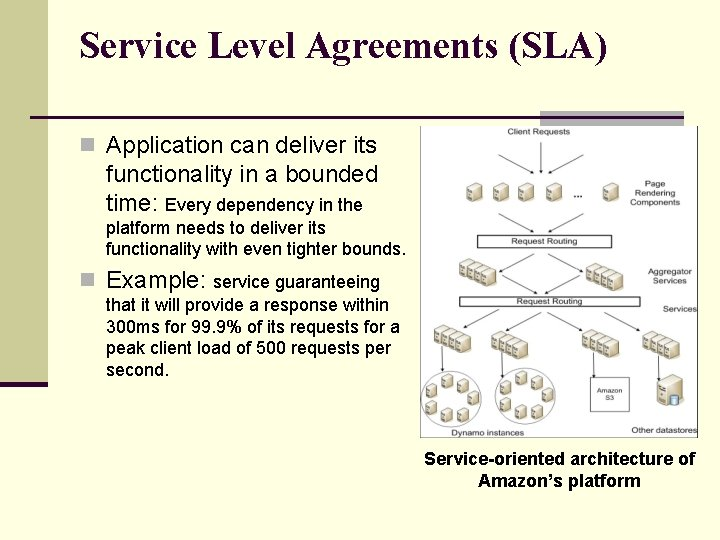 Service Level Agreements (SLA) n Application can deliver its functionality in a bounded time: