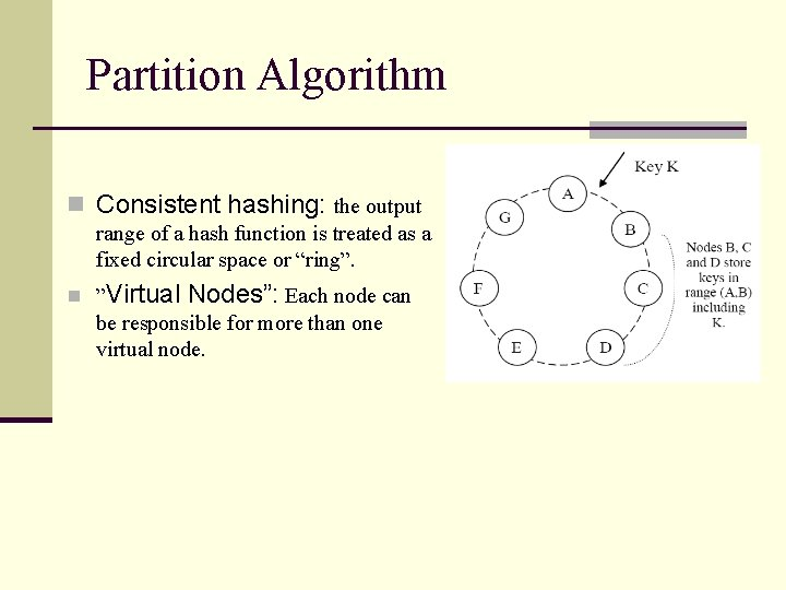 Partition Algorithm n Consistent hashing: the output range of a hash function is treated