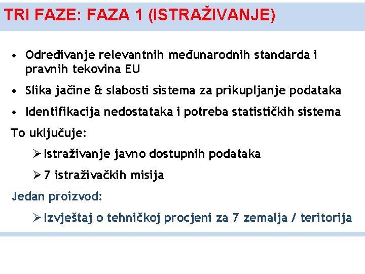 TRI FAZE: FAZA 1 (ISTRAŽIVANJE) • Određivanje relevantnih međunarodnih standarda i pravnih tekovina EU