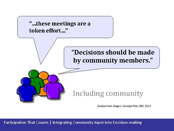 """""""…these meetings are a token effort…"""" """"Decisions should be made by community members. """""""