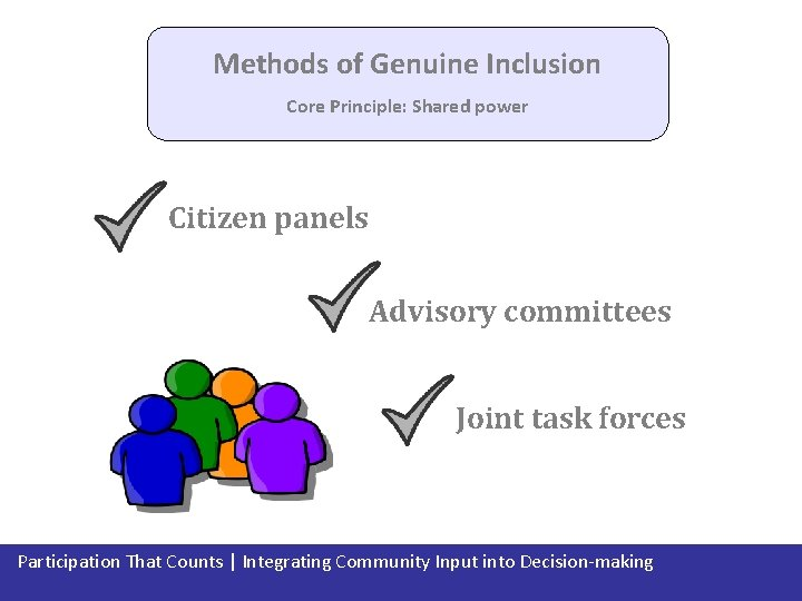 Methods of Genuine Inclusion Core Principle: Shared power Citizen panels Advisory committees Joint task