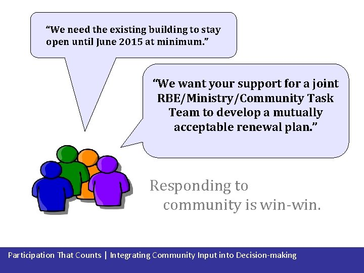 """""""We need the existing building to stay open until June 2015 at minimum. """""""