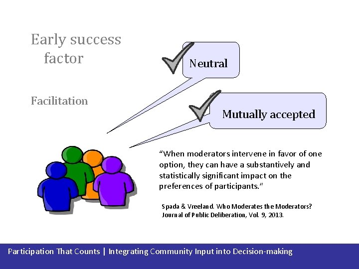 """Early success factor Facilitation Neutral Mutually accepted """"When moderators intervene in favor of one"""