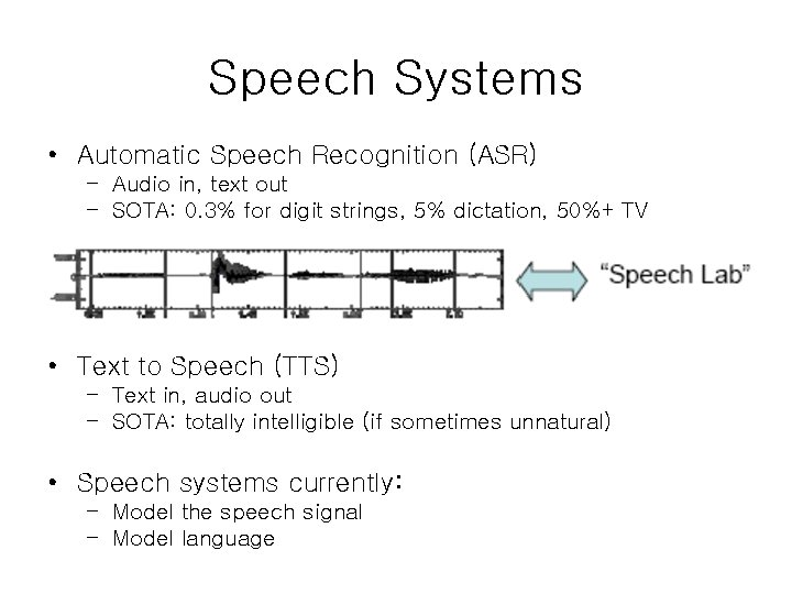 Speech Systems • Automatic Speech Recognition (ASR) – Audio in, text out – SOTA: