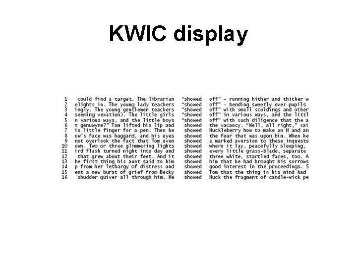 KWIC display