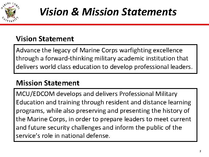 Vision & Mission Statements Vision Statement Advance the legacy of Marine Corps warfighting excellence