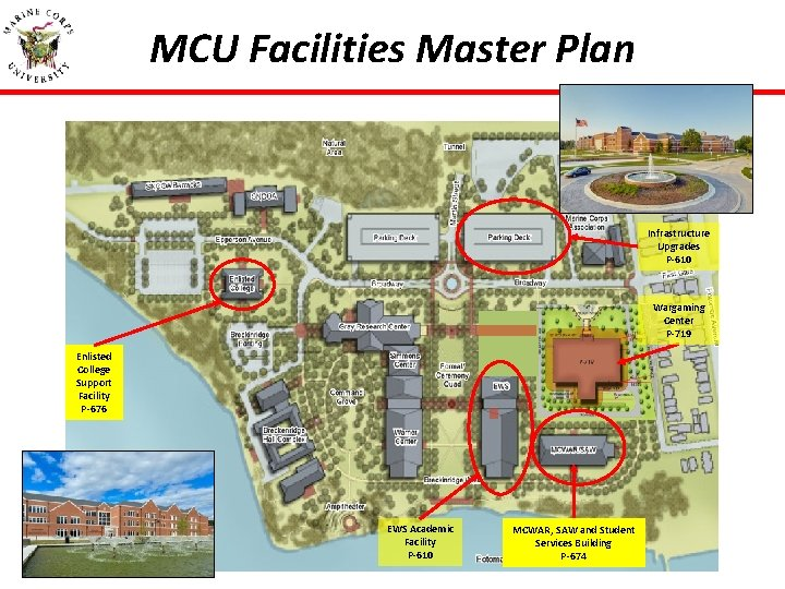 MCU Facilities Master Plan Infrastructure Upgrades P-610 Wargaming Center P-719 Enlisted College Support Facility