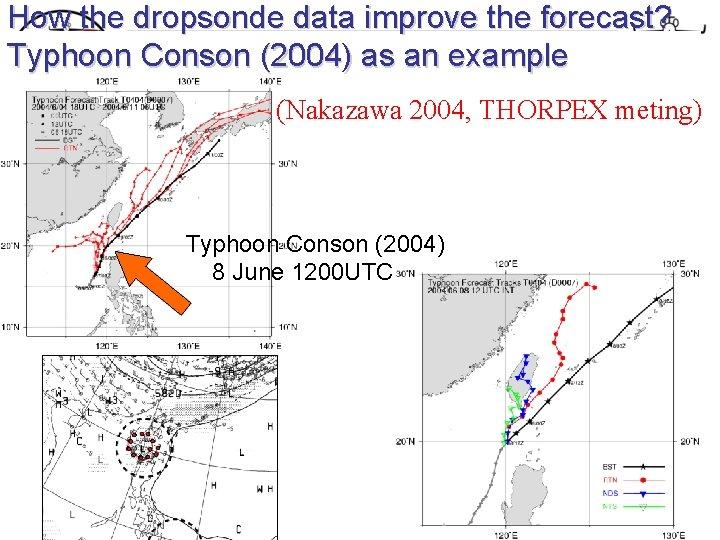 How the dropsonde data improve the forecast? Typhoon Conson (2004) as an example (Nakazawa