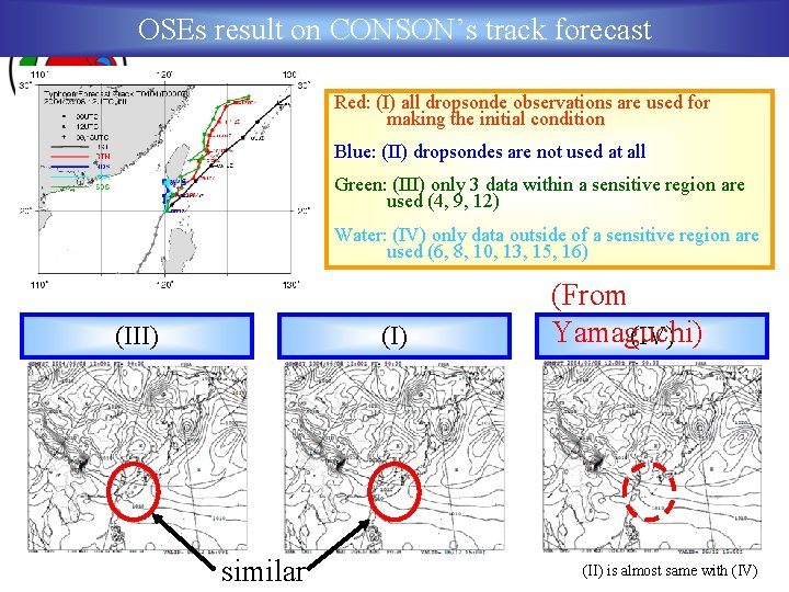 OSEs result on CONSON's track forecast Red: (I) all dropsonde observations are used for