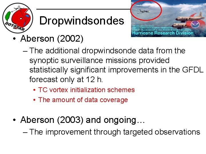 Dropwindsondes • Aberson (2002) – The additional dropwindsonde data from the synoptic surveillance missions
