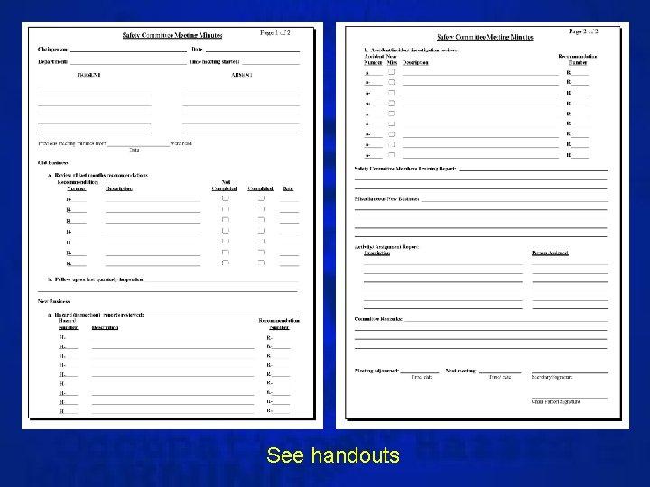 See handouts