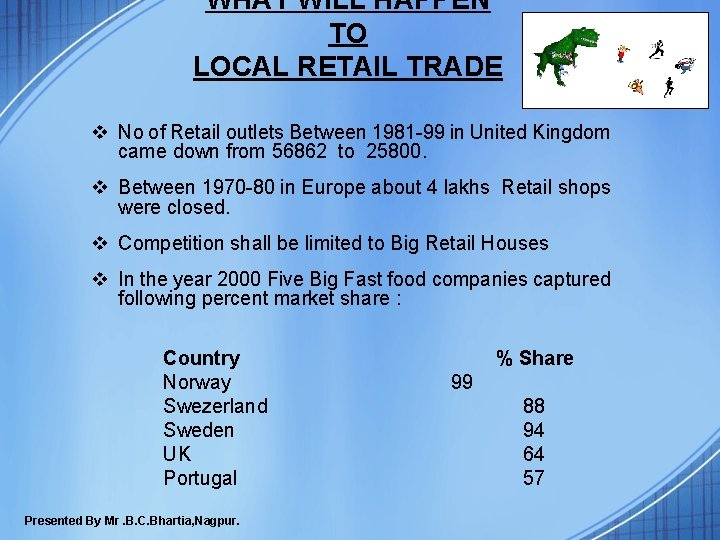 WHAT WILL HAPPEN TO LOCAL RETAIL TRADE v No of Retail outlets Between 1981