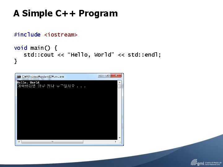 """A Simple C++ Program #include <iostream> void main() { std: : cout << """"Hello,"""