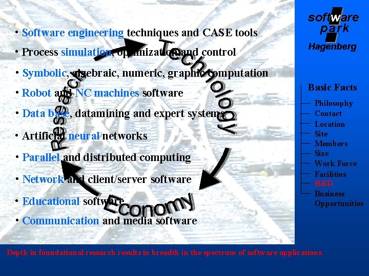 • Software engineering techniques and CASE tools • Process simulation, optimization and control