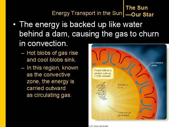 The Sun Energy Transport in the Sun —Our Star • The energy is backed