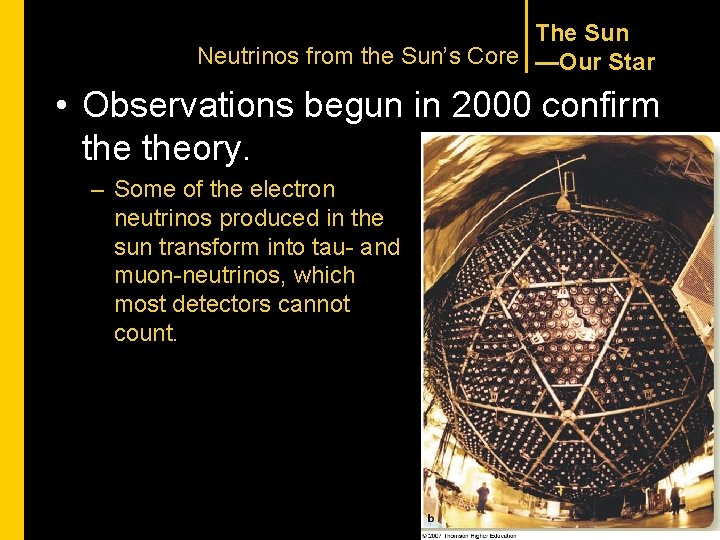 The Sun Neutrinos from the Sun's Core —Our Star • Observations begun in 2000