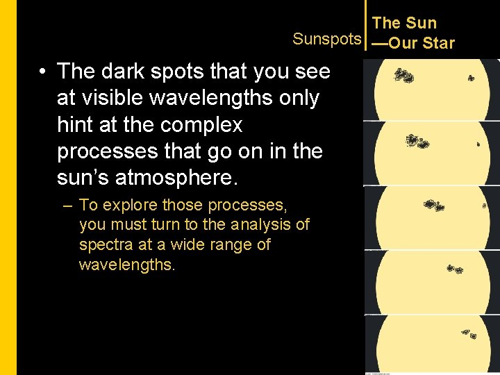 The Sunspots —Our Star • The dark spots that you see at visible wavelengths