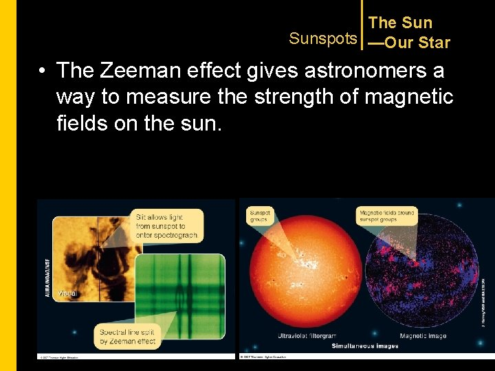 The Sunspots —Our Star • The Zeeman effect gives astronomers a way to measure
