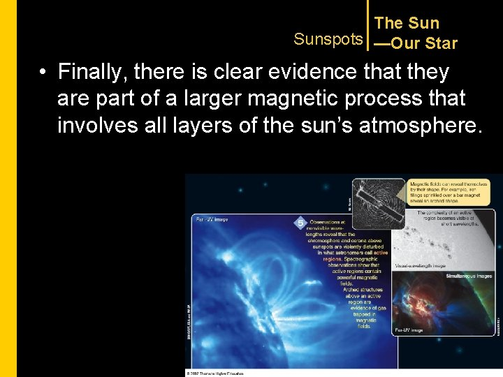 The Sunspots —Our Star • Finally, there is clear evidence that they are part