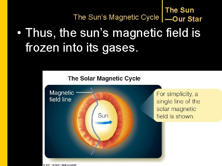 The Sun's Magnetic Cycle —Our Star • Thus, the sun's magnetic field is frozen
