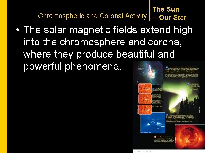 The Sun Chromospheric and Coronal Activity —Our Star • The solar magnetic fields extend