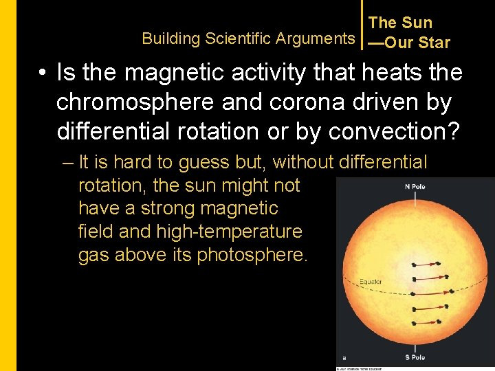 The Sun Building Scientific Arguments —Our Star • Is the magnetic activity that heats